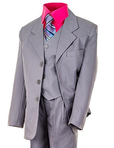 6tlg. Kinder Fest Anzug Kommunionsanzug Smoking grau extra Hemd in vielen Farben M348hpi Hemd Pink Gr. 6 / 116 / 122