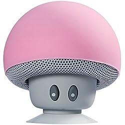CAHAYA Champignon Mini Enceintes Bluetooth Haute- Parleur Sans Fil Pour Smartphone à Ventouse Pour Baignade TéléPhone De Voiture Tablet PC Portable, Rose