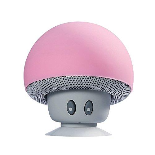 Setas Mini Altavoces, YOSASO Altavoz inalámbrico Bluetooth para Smartphone Ventosa para el baño Teléfono Teléfono del Coche Tablet PC Ordenador portátil, Rosa