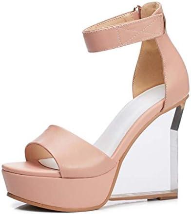 Las Sandalias de Cuña de Las Mujeres Peep-Toe Sandalias Impermeables Velcro Super High Heels Negro/Rosa Talla...