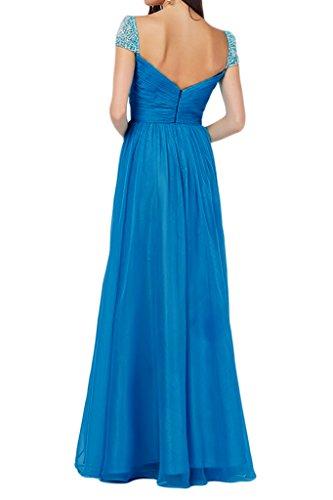Ivydressing Damen A-Linie Kurz Aermel mit Steine Promkleid Partykleid Abendkleid Blau