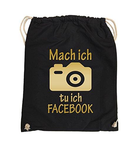 Comedy Bags - Mach Foto ich tu ich FACEBOOK - KAMERA - Turnbeutel - 37x46cm - Farbe: Schwarz / Pink Schwarz / Gold
