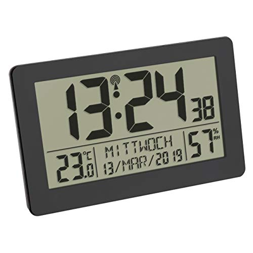 TFA Dostmann Digitale Funk-Wanduhr, großes Display, mit Temperaturanzeige, Datum, Wochentage, Kunststoff, (L) 206 x (B) 30 (59) x (H) 130 mm