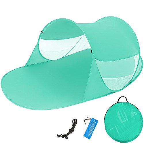 TecTake Pop Up Strandmuschel Wurfzelt 245x145x95 cm mit UV Schutz - Diverse Farben - (Grün | Nr. 401678)