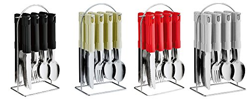 24 Piece Stainless Steel Cutlery Set with Hanging Cutlery Stand (Red)