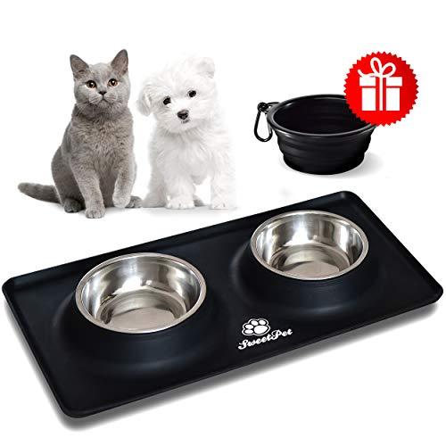 SweetPet Edelstahl Hundenapf Futternapf Fressnapf für Hund und Katze mit Napfunterlage aus Premium Silikon schwarz