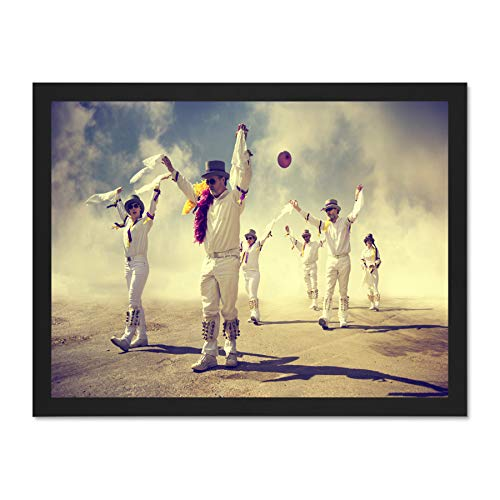 English Morris Dancers Sand Art Large Framed Art Print Poster Wall Decor 18x24 inch Supplied Ready to Hang -