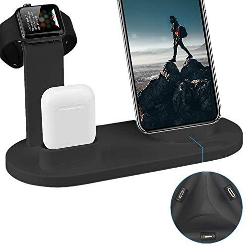 Ares 1-serie (Ladestation Ständer für iWatch, QinTian 5 in1 Halter Ladegerät Halterung mit iWatch Series 4/3/2/1, Airpods, Mobiltelefon Ladegerät Dock(einschließlich Typ-C, Micro-USB, iPhone))