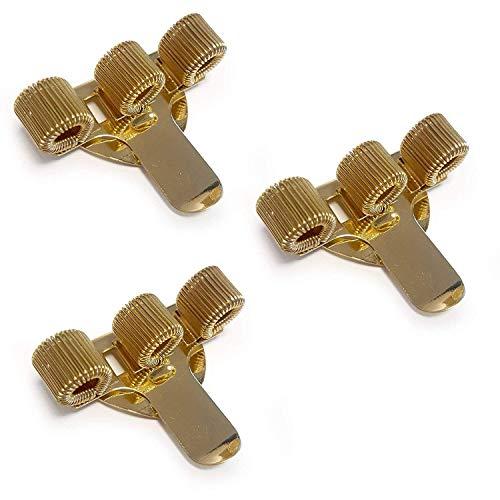 Portapenne a 3 scomparti con fermaglio da tasca, ideale per dottori, infermiere e piloti. Confezione da 3. Colore: oro