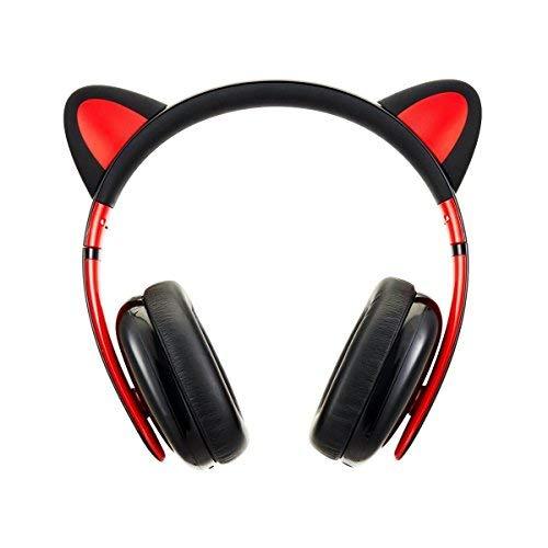 Censi Kreative Musik Katze Ohr Kopfhörer Stereo Over Ear Spiel Headset Lärm Verhindern Stirnband Kopfhörer mit MIC und USB aufladbare Port für Bluetooth 4.0 Gerät (Schwarz)