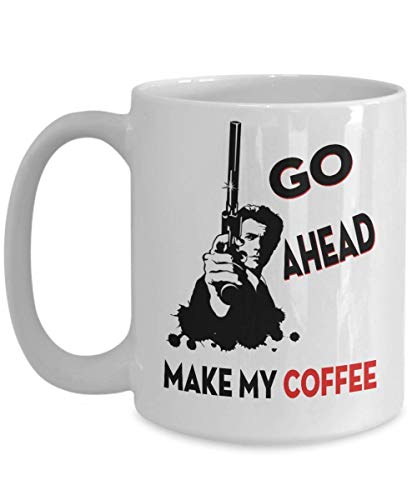 Fgrygf Tea Milk Cup, Novelty Coffee Mugs, Dirty Harry Funny Nice Giftfor Clint Eastwood Fans Go Ahead, Make My, Funny, Cup, Tea, Nice GiftFor Christmas, Father's day, Xmas, Dad, Anniver