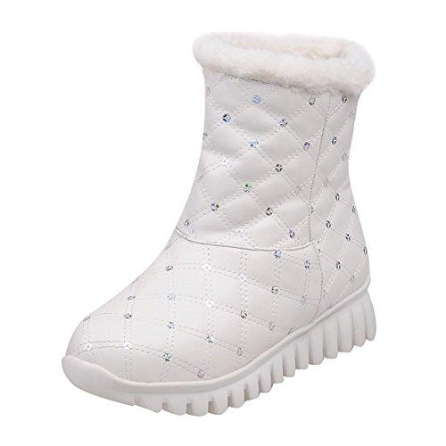 Mee Shoes Damen kurzschaft warm gef眉ttert runde Schneestiefel Wei