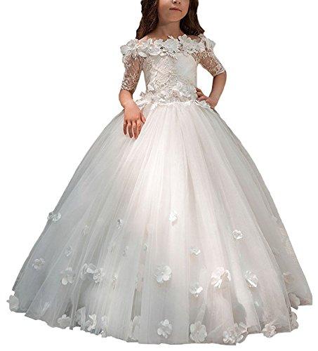 ze Applique Blumenmädchen Kleid Kinder Tüll Hochzeit Ballkleider Abendkleid (Weiß, Alter 10) (Erste Kommunion Kleider Puffy)