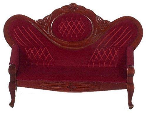 Puppenhaus Miniatur Möbel Mahagoni & Rot Viktorianisch Salon Sofa 601 - Viktorianischen Sofa