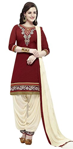 KRISHNAKRTFASHION Presenting Latest Embroidered Maroon Color Un-Stitched Dress Material In Cotton Fabric.