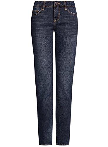 oodji Ultra Damen Gerade Geschnittene Jeans Basic Blau (7900W)