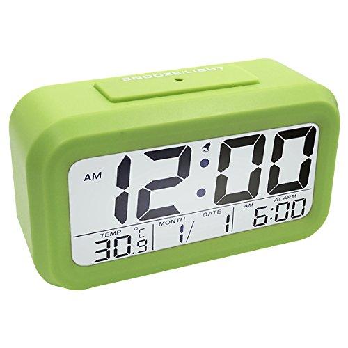 Easehome sveglia digitale elettronica, sveglie da comodino orologio sveglia bambini calendario temperatura allarme sveglia batteria snooze luce notturna per cucina viaggi casa ufficio, verde