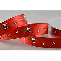 Poliestere Rosso Raso con Design Babbo Natale 15mm x