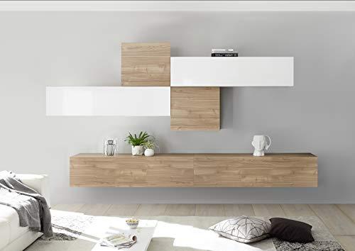Arredocasagmb parete attrezzata composizione sospesa soggiorno moderno bianco lucido noce effetto cemento ossido pensile porta tv over 100 (bianco lucido e noce stelvio)