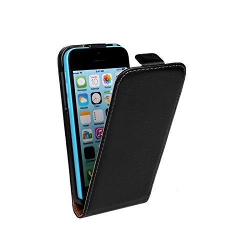 Meimeiwu Genuine Leather Wallet Cover Hülle Schutzhülle Etui Tasche Up-Down Flip Open Case für iPhone 5C - Orange Schwarz