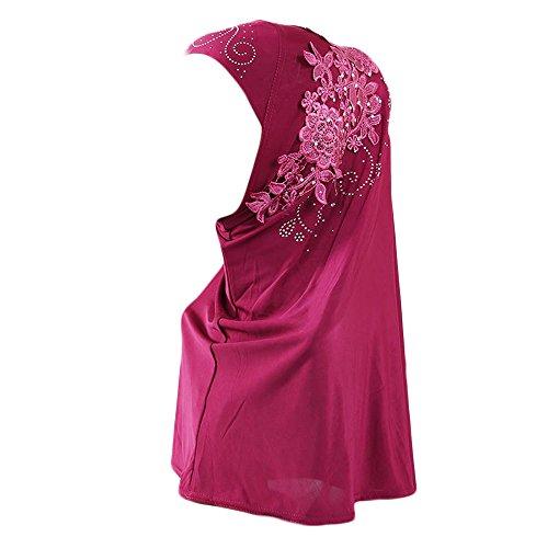 Muslim Damen Lose Spitze Kopftuch Turban Islamischen Abaya Dubai Frauen Elegante Gesichtsschleier Hidschab Schal Ramadan Kopfbedeckung Hijab Chemo Kappe (Pink)