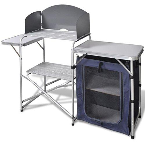 vidaXL Cocina de aluminio plegable para camping, con estantes y rejilla