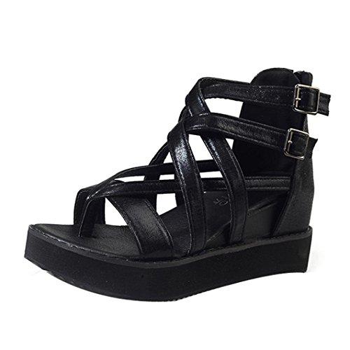 Heiß Verkauf Amlaiworld Damen Sommer Sandalen Peep Toe Niedrige Schuhe Römisch Flip Flops Schwarz