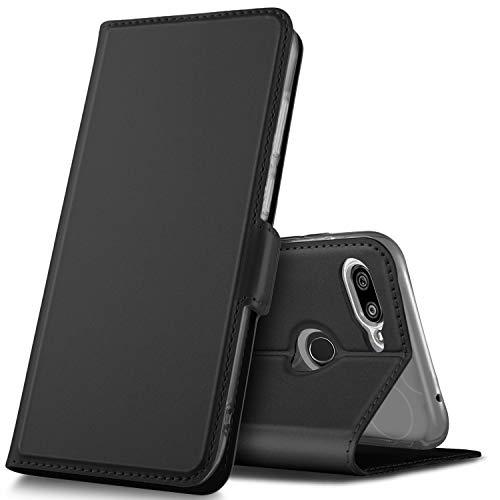 GEEMAI Diseño para Xiaomi Mi 8 Lite Funda, Protectora PU Funda Multi-ángulo a Prueba de Golpes y Polvo a Prueba de Silicona con Soporte Plegable Apto para Xiaomi Mi 8 Lite Smartphone. (Negro)