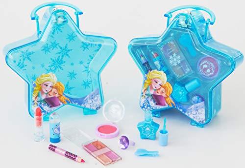 Disney Frozen blauer Schminkkoffer in Stern-Form mit Henkel, 1er Pack (enthält kindgerechte Schminke für Augen und Lippen, Nagellack, Schmuck) - Spielen Mädchen Schmuck-set
