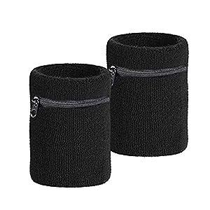 Premium Schweißarmband mit Reißverschlusstasche| 2er Set Schweißband Sicherheitsarmband|Praktisches Sport Armband Wristband-Handgelenktasche | Ideal für Jogging-Fach Geldbeutel Tasche|