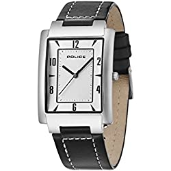 Police Men's Quartz Watch with Silver Dial Analogue Display and Black Leather Strap 10231MS/04C
