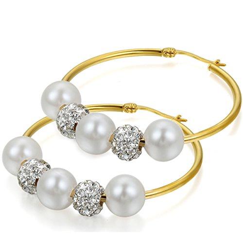 Flongo Orecchini viticci ciondolo, Grandi orecchini del cerchio con strass e perle artificiali, donna elegante ornamento