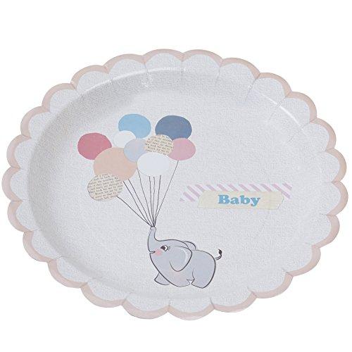 aby Elephant & Ballons Pfirsich & Pastell Papier Platten - Kleine (Vintage Baby-dusche)