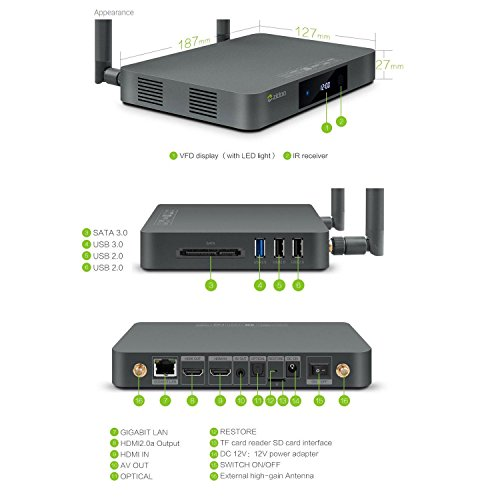 Contenitore Di Android TV Zidoo X9S Android 6.0 TV Box OpenWRT(NAS) Quad Core 2G/16G Dual Band WIFI 1000Mbps LAN HDR USB3.0 ingresso HDMI Registratore SATA 3.0