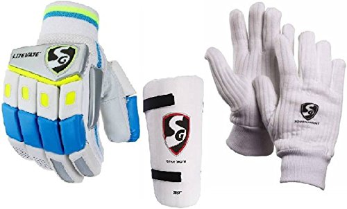SG Combo von Drei, One Paar 'Lite Vate' (Leicht) Cricket Batting Handschuhe, One 'Test' Elbow Guard und One Paar 'Tournament' Innen Handschuhe Herren Cricket Kit