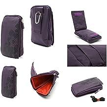 DFV mobile - Multi-functional Universal Vertical Stripes Pouch Bag Case Zipper Closing Carabiner for => NOKIA N800 TABLET > PURPLE (16 x 9.5 cm)