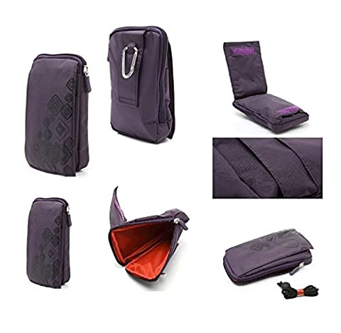 DFV mobile - Multi-functional Universal Vertical Stripes Pouch Bag Case Zipper Closing Carabiner for => CATERPILLAR CAT S30 > PURPLE (16 x 9.5 cm)