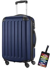 Hauptstadtkoffer® Bagaglio a mano (49 litri) con un lucchetto TSA Seria SPREE (Colore Blu Scuro con 1 ciondolo per la valigia)
