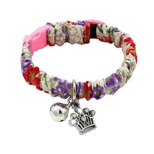 lastic Collar Bell Heart Fish Bone Crown Neck Strap Band Pet Supplies-2# S ()
