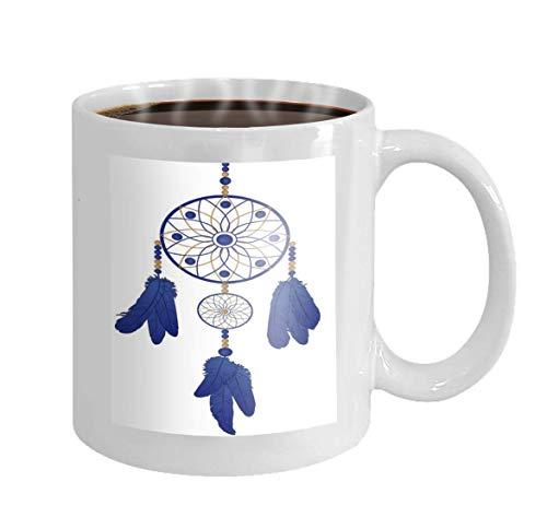 Taza de café de 11 oz Atrapasueños Plumas azules Acuarela Novedad Regalos de cerámica Taza de té
