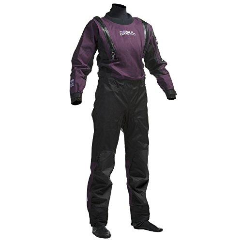 GUL Womens Code Zero U-Zip Drysuit Dry Suit Black Plum EINSCHLIESSLICH UNDERFLEECE - Easy Stretch Wasserdicht Spritzwasser