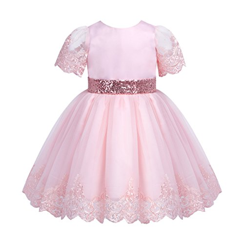 Tiaobug Baby Mädchen Prinzessin Kleid Blumenmädchenkleid Taufkleid Festlich Kleid Hochzeit Geburtstag Partykleid Festzug Babybekleidung Outfits Rosa 68-74/6-9 Monate