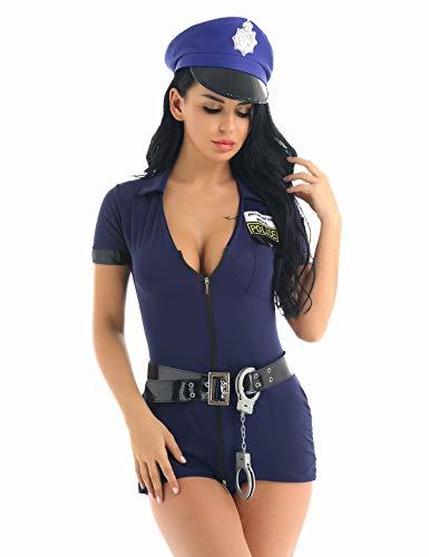 Kostüm Hut Polizistin - iiniim Damen Polizistin Kostüm Uniform Set Minikleid+Hut+Gürtel+Handschellen Outfit Set für Mottoparty Cosplay Festzug M-XXL Marine Blau XXL