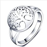 Anillo árbol de la vida mujer símbolo amuleto color plata talla 26 diámetro 21