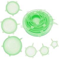 GUUVOR Pack de 6 Tapas De Silicona De Varios Tamaños, Ideales para Conservación De Alimentos, Aptas para El Lavavajillas Y El Congelador. (Verde)