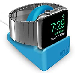 Orzly Night-Stand Compatible avec Apple Watch Bleu - Station de Charge Mode Nightstand - Station d'accueil - Compatible Apple Watch 38 mm / 42 mm / 40mm / 44mm