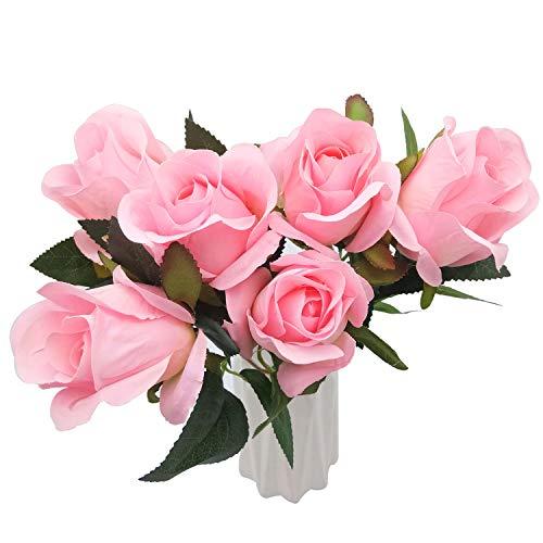 BuleXP 6 Pieza Flores Artificiales Rosas Decoración de Seda Plantas Simulación Bouquet...