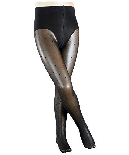 Dot Strumpfhose (FALKE Mädchen Strumpfhosen / Leggings Romantic Dot - 1 Paar, Gr. 134-146, schwarz, Feinstrumpfhose hautschmeichelnd)