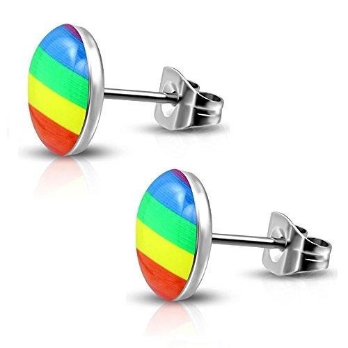 Bungsa Ohrstecker REGENBOGEN Damen & Herren bunt - Ohrringe mit REGENBOGEN - nickelfreier EDELSTAHL Ohrschmuck für Kinder, Frauen & Männer - tolle Statement Earstuds mit Regenbogen