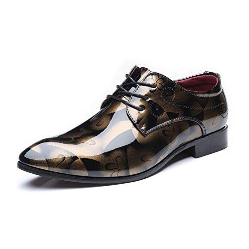Sunny&baby scarpe da uomo in pelle liscia con pittura astratta liscia classica mocassini con lacci a maniche lunghe oxford foderato da lavoro formale (extra large) resistente all'abrasione ( color : brown , dimensione : 43 eu )